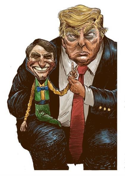 Charge: Bolsonaro sentado no colo de Trump