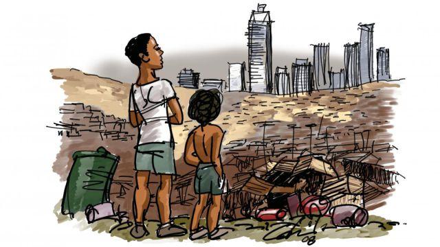Desenho de um adulto e uma criança ém um lixão olhando para altos prédios ao longe.