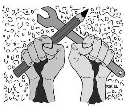 Dois punhos erguidos, um segurando um lápis e outro, uma ferramenta (chave fixa).