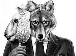 Um lobo com máscara de cordeiro