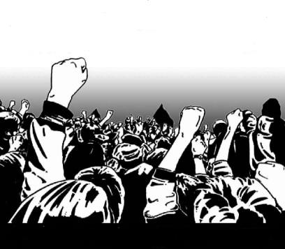 Desenho de várias pessoas com o punho esquerdo levantado