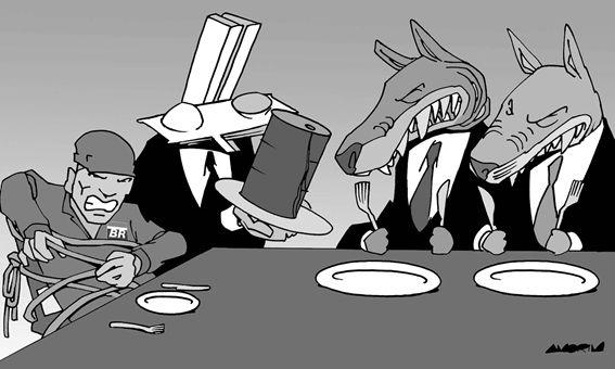Em uma mesa, dois lobos recebem um barril de petróleo de um indivíduo representando o congresso nacional, enquanto um trabalhador da Petrobrás assiste amarrado a uma cadeira.