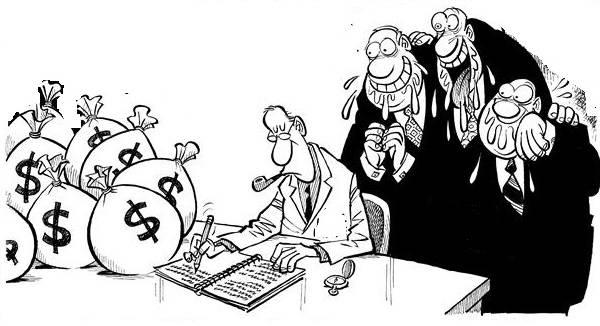 Charge com burgueses gananciosos babões olhando por cima do ombro de um contador, que faz cálculos em uma mesa cheia de sacos de dinheiro