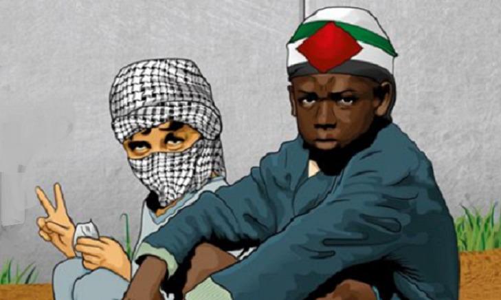 Menino com turbante com bandeira palestina sentado ao lado de menino com turbante ao estilo palestino cobrindo o rosto. É uma sátira de um antigo disco de Milton Nascimento.