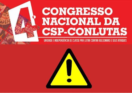 Banner do 4° Congresso Nacional da CSP-Conlutas
