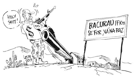 """Charge em que um indivíduo armado com colete que tem marca de dinheiro desenhada chega na cidade de Bacurau, encontrando uma placa onde está escrito """"Bacurau 17 km: se for, vá na paz"""". Um cano de arma sai de uma casa e aponta na cabeça do indivíduo que exclama: """"Holy shit!"""""""