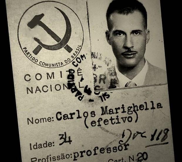 Foto da carteira do Partido Comunista do Brasil do militante Carlos Marighella