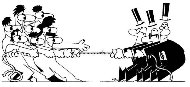 Em um cabo de força, trabalhadores puxam de um lado e patrões de outro.