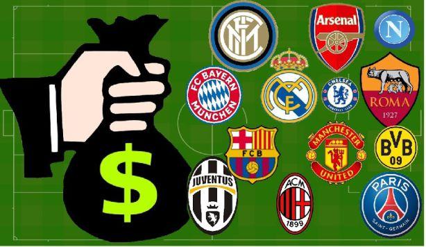 Figura com emblamas dos principais times da europa e de uma mão branca segurando um saco de dinheiro.