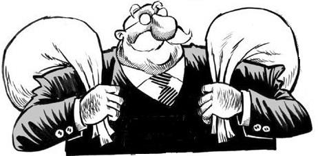 Desenho de um homem velho, de óculos, careca e com bigode carregando dois sacos que supõe-se serem de dinheiro