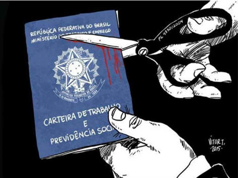Desenho mostra uma carteira de trabalho (CLT) sendo cortada com uma tesoura. Enquanto é cortada, sangue escorre.