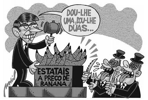 """Charge de Bolsonaro em cima de um palco com um martelo de leilão na mão dizendo """"dou-lhe uma, dou-lhe duas..."""". Em cima do balcão, bananas. Embaixo, burgueses famintos com garfos e facas."""