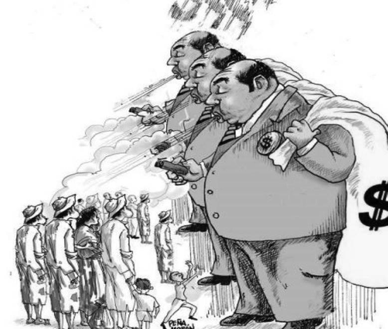 Charge em que burgueses homens gigantes, carecas e com um saco de dinheiro nas costas, fumam soltando a fumaça para baixo, onde se encontra a paupérrima população trabalhadora