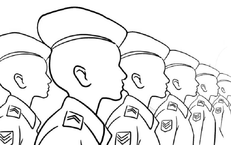 Imagem de vários estudantes em fila, com roupas militares