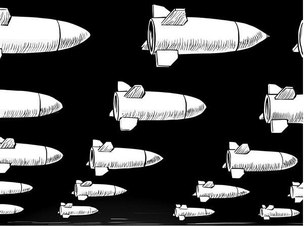 Desenho de vários mísseis
