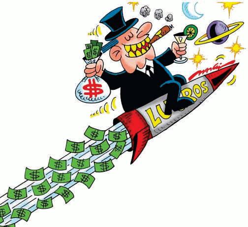 Charge de um banqueiro fumando e segurando, em cada mão, um saco de dinheiro e uma taça de vinho. Ele está montado em um foguete que voa para cima e do propulsor sai notas de dinheiro. Ao fundo, o planeta Saturno.