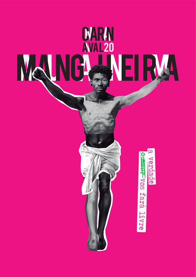 """Logotipo do samba-enredo da Mangueira em 2020: A verdade vos fará livre. Um quadro com o fundo lilás, com um homem como crucificado. O homem é formado por recortes de várias pessoas de várias cores, mas o rosto é majoritariamente negro. Acima do homem lê-se """"Carnaval 20 Mangueira"""" e, ao lado, a frase """"(o amor) a verdade vos fará livre"""". O trecho """"o amor"""" está riscado e, por cima, escreve-se """"a verdade"""", formando o título do samba-enredo"""