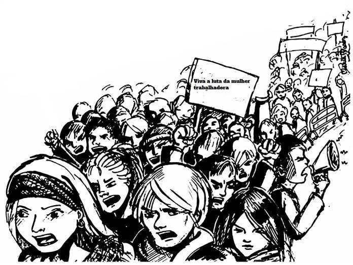 """Desenho de manifestação com muitas mulheres. Uma faixa onde se lê """"Viva a luta da mulher trabalhadora"""""""