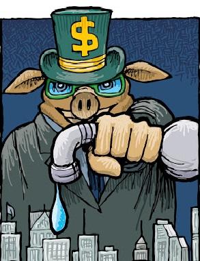 Figura de um porco gigante atrás de alguns prédios. O porco veste terno e um chapéu com o cifrão (símbolo de dinheiro) e aperta com as mãos um cano, impedindo a água de sair