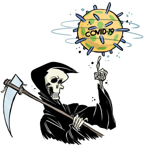 Charge da imagem da morte (uma caveira com capa preta segurando uma foice) mostrando o vírus COVID-19