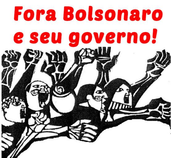 """No topo da imagem, lê-se """"Fora Bolsonaro e seu governo"""". Abaixo, uma ilustração de várias pessoas com braços levantados, ao estilo cubista."""