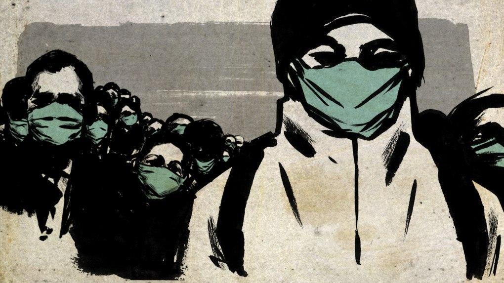 Desenho de várias pessoas com máscaras, com um jovem de mochila e touca à frente do grupo