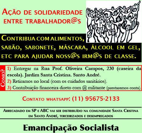 Banner sobre a ação de solidariedade entre trabalhadores. As informações no banner são as mesmas do texto da matéria