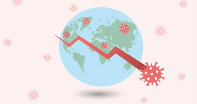 Charge do planeta terra e, em frente, uma linha decadente como um gráfico descendo e, à frente da linha do gráfico, o coronavírus.