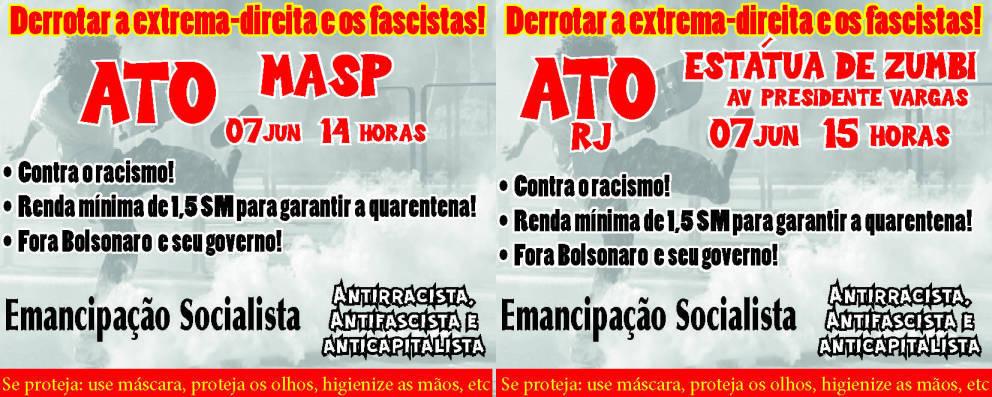 Panfleto convocando os atos dos dias 07/06 em São Paulo e no Rio de Janeiro