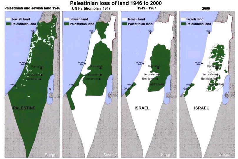 Mapa mostra a evolução de Israel de 1946 a 2000, avançando cada vez mais sob o território palestino. Em 1946 quase todo o território era palestino. Já em 2000, os palestinos vivem apenas em áreas pontilhadas dentro de Israel.