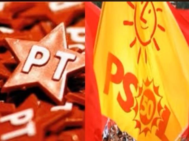 Imagem com montagem que coloca bandeiras do PT e do PSOL lado a lado.