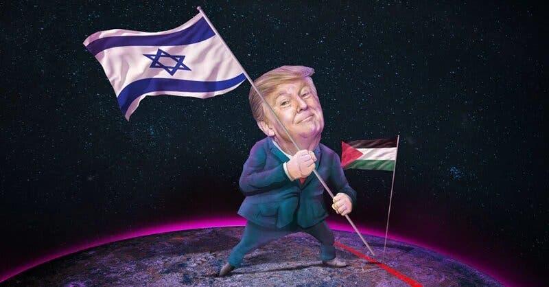 Charge em que Trump segura a bandeira israelense em território com a bandeira palestina ao fundo.