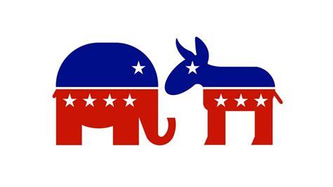 Desenho dos símbolos de um elefante e um burro, com as cores da bandeira dos Estados Unidos, representando, respectivamente, os partidos Republicano e Democrata