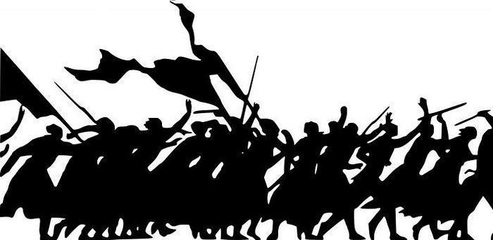 Desenho de manifestação, na qual muitas pessoas carregam bandeiras