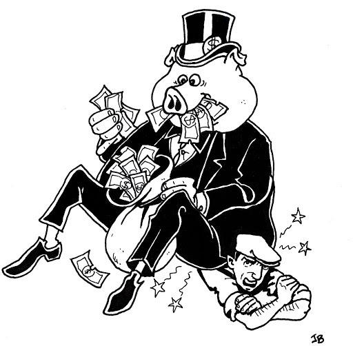 Charge em que um burguês com cara de porco se empanturra com um saco de dinheiro, enquanto está sentado sobre um trabalhador