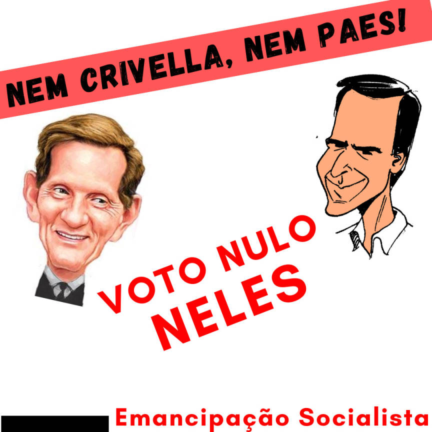 """Charges de Crivella e Paes, com os dizeres """"Nem Crivella, nem Paes: Voto nulo neles"""""""
