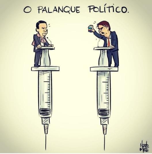 """Desenhos de dória e bolsonaro debatendo, cada um sobre uma seringa. Em cima, o texto """"o palanque político""""."""