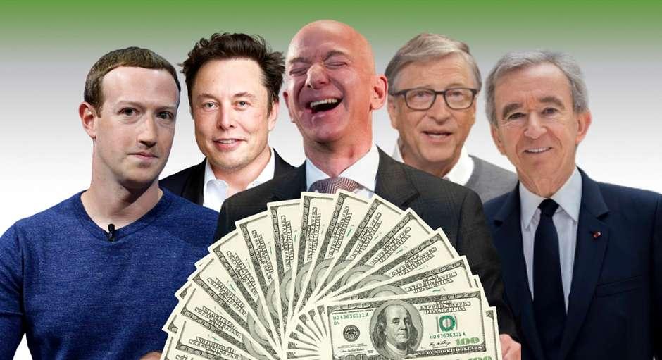 Na fotografia, as bilionários mais ricos do mundo: Mark Zukemberg, Jeff Bezos, Elon Musk, Bill Gates e, em primeiro plano, notas de dólares.